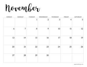 November 2022 calendar printable template