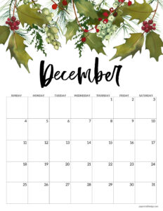 Free floral December 2022 calendar printable