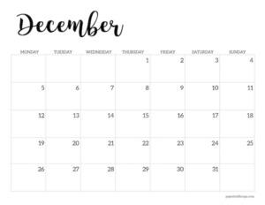 Free printable 2022 December Monday start calendar page