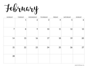Free printable 2022 February Monday start calendar page