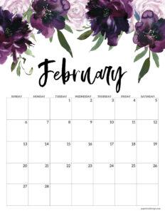 Free floral February 2022 calendar printable