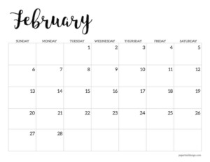 February 2022 calendar printable template