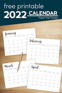 January, February, March, and April calendars printable pages with text overlay- free printable 2022 calendar
