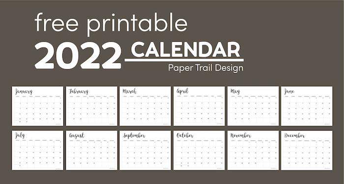 2022 Calendar template with text overlay- free printable 2022 calendar