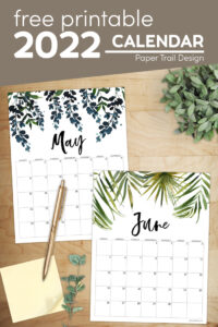 Floral free printable calenadr for 2022 with text overlay- free printable 2022 calendar