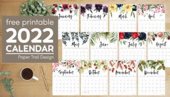 Free 2022 calendar printable with floral designs with text overlay- free printable 2022 calendar