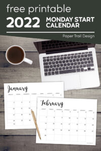 January and February printable Monday start calendar with text overlay- free printable 2022 Monday start calendar