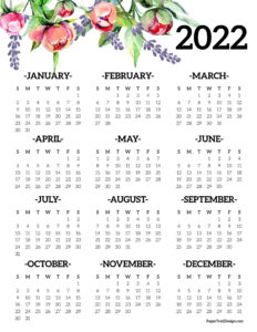 2022 printable calendar one page with floral design