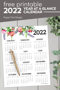 Floral year at glance calendar for 2022 with text overlay- free printable 2022 year at a glance calendar