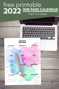 2022 one page calendar printable with watercolor design with text overlay- free printable 2022 one page calendar