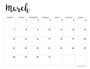 Free printable 2022 March Monday start calendar page