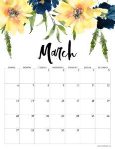 Free floral March 2022 calendar printable