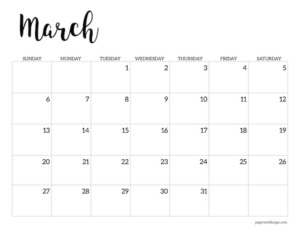 March 2022 calendar printable template