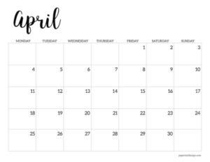 Free printable 2022 April Monday start calendar page