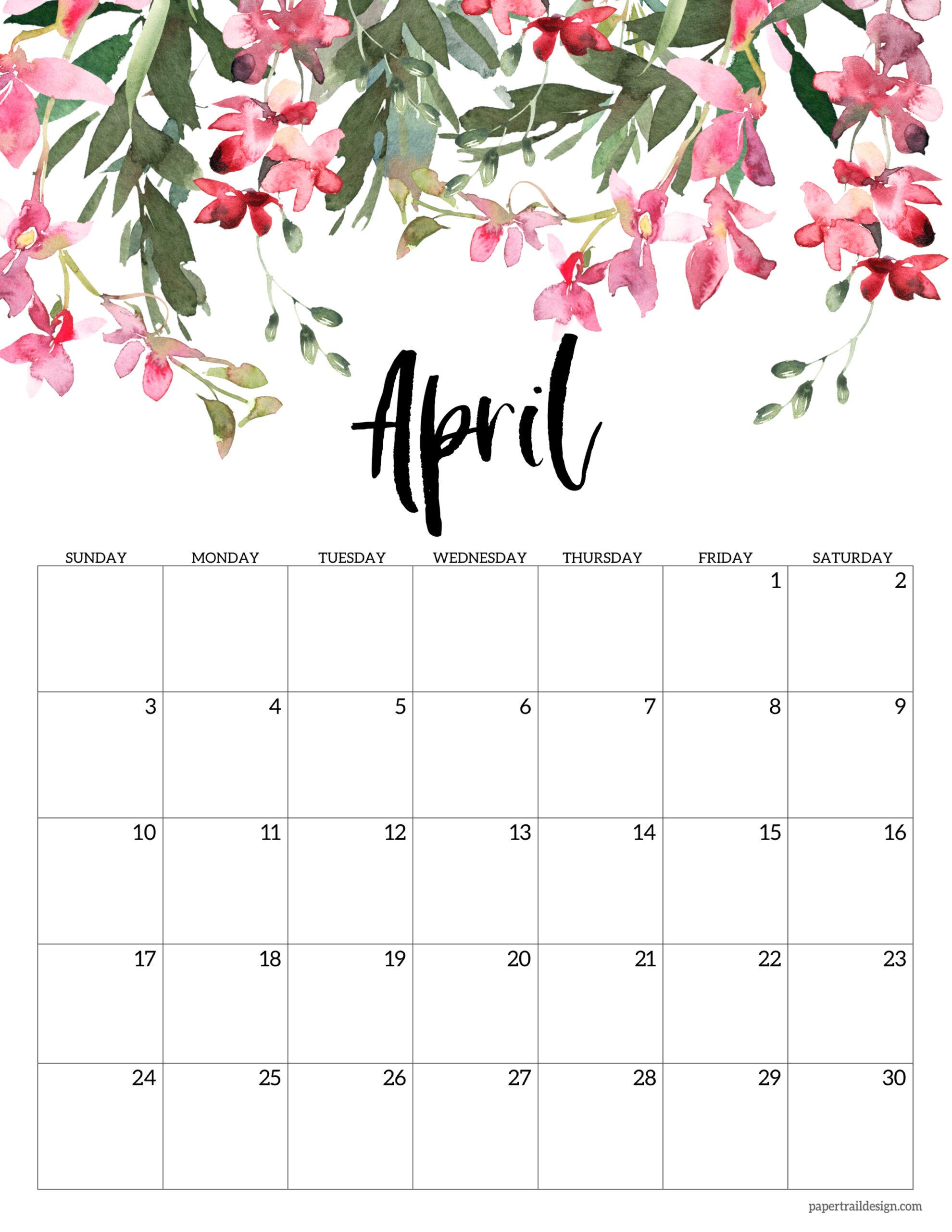 April 2022 Calendar Printable.Free 2022 Calendar Printable Floral Paper Trail Design