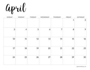 April 2022 calendar printable template