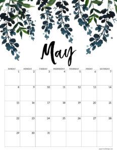 Free floral May 2022 calendar printable