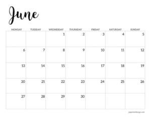 Free printable 2022 June Monday start calendar page