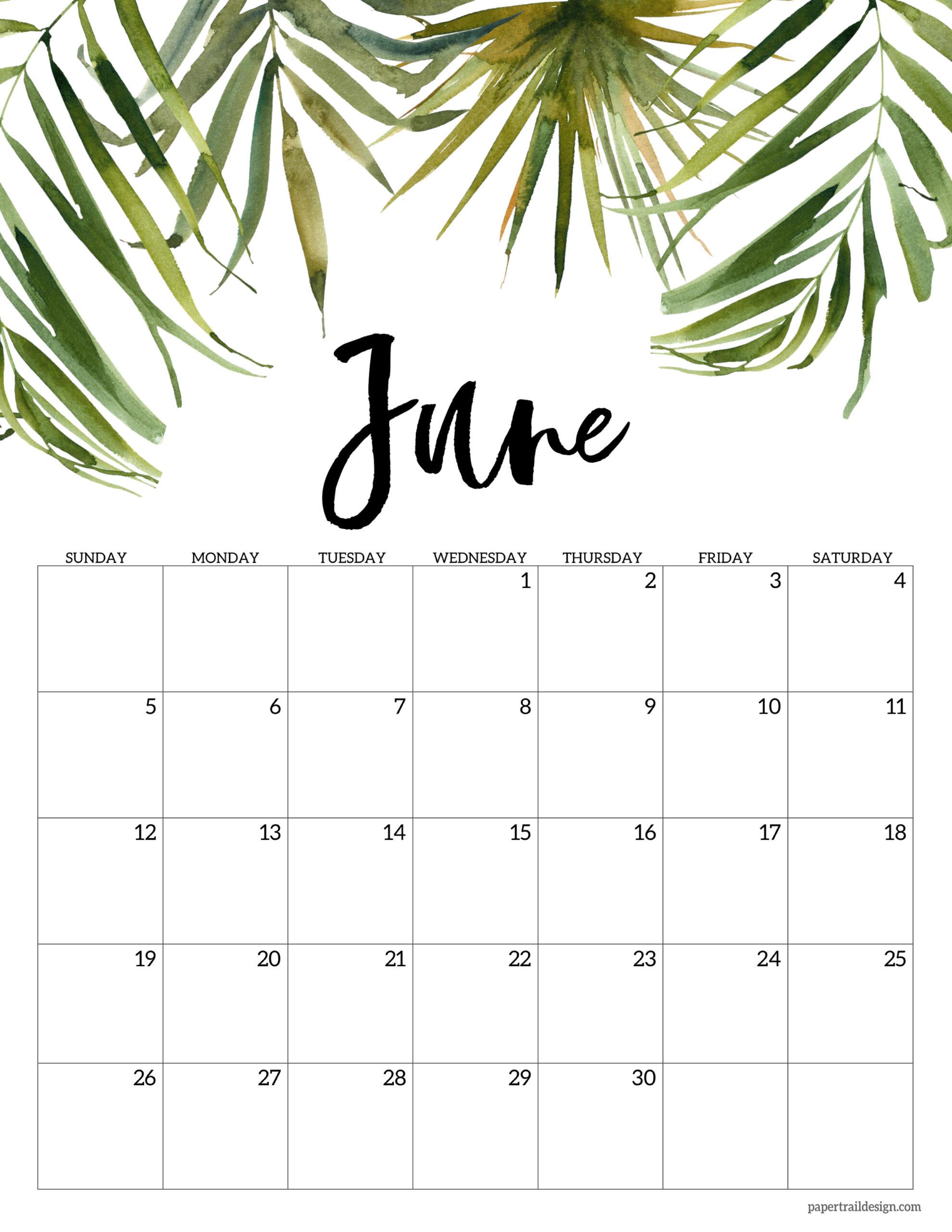 Blank Calendar For June 2022.Free 2022 Calendar Printable Floral Paper Trail Design