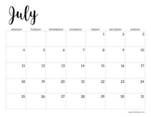 Free printable 2022 July Monday start calendar page
