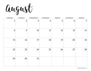 Free printable 2022 August Monday start calendar page