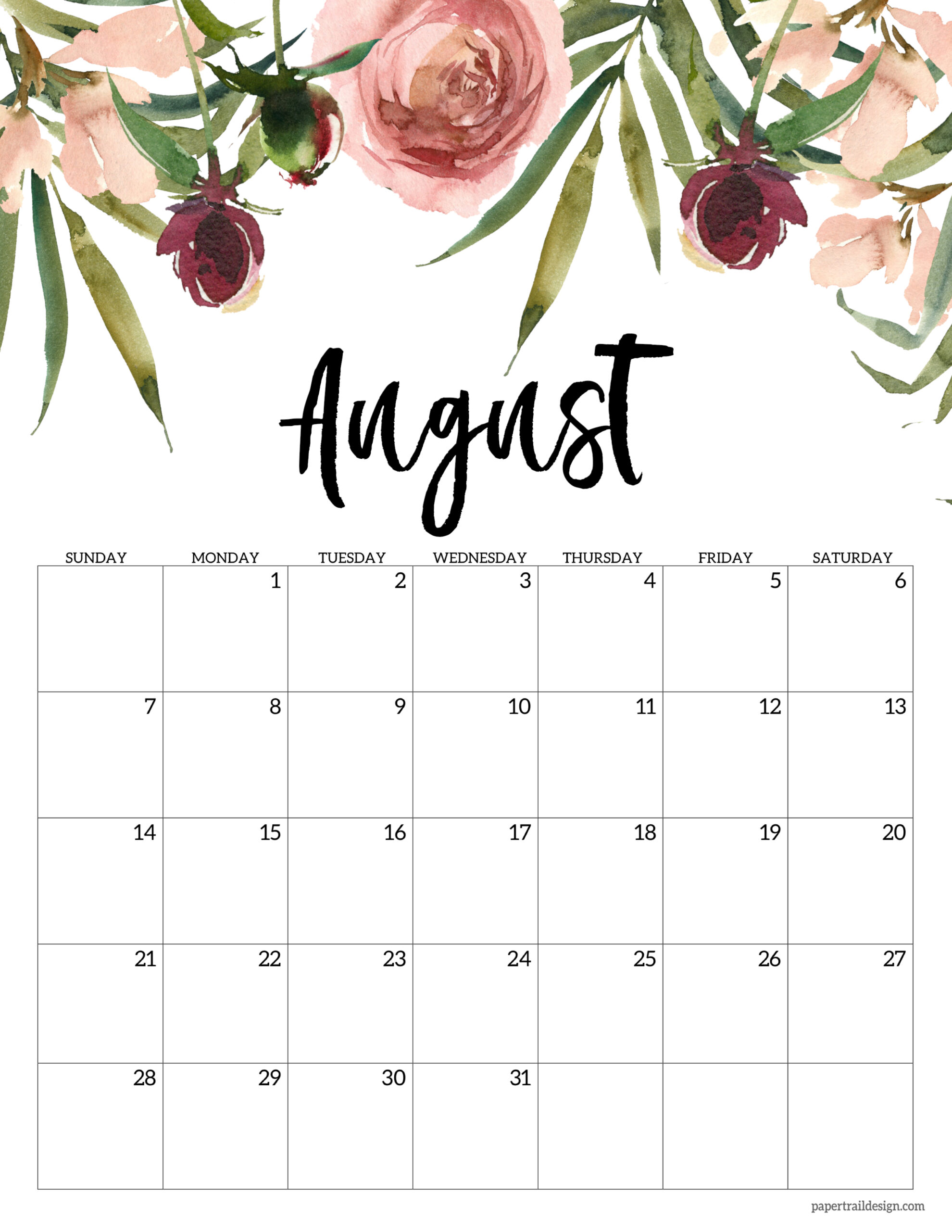 August Printable Calendar 2022.Free 2022 Calendar Printable Floral Paper Trail Design