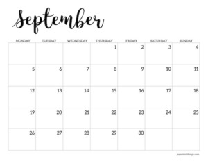 Free printable 2022 September Monday start calendar page