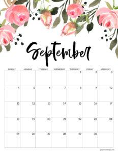 Free floral September 2022 calendar printable