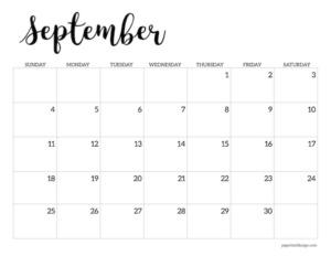 September 2022 calendar printable template