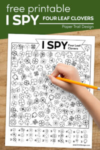 St Patrick's Day themed kids activity printable with text overlay- free printable I spy four leaf clovers