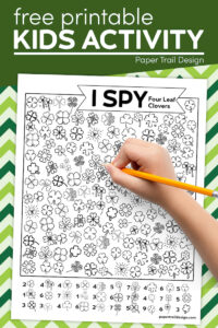 St Patricks's Day themed I spy four leaf clovers page with text overlay- free printable kids activity