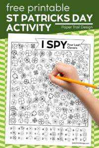 I spy clovers actvitiy page for kids with text overlay- I spy St. Patrick's Day activity