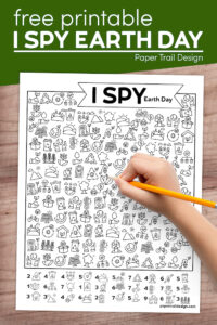 Free printable I spy Earth day activity page with text overlay- free printable I spy Earth Day