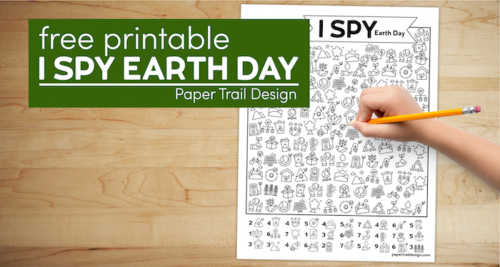 Earth Day kids activity page with kids hand holding a pencil with text overlay- free printable I spy Earth Day