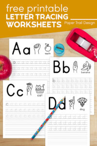 Free Letter Tracing Worksheets A,B,C,D with text overlay- free printable letter tracing worksheets