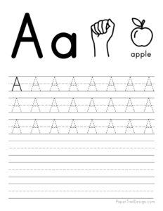 Capital letter A tracing worksheet