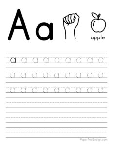 Lowercase letter A tracing worksheet