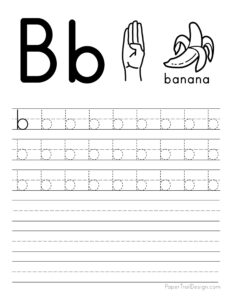 Lowercase letter B tracing worksheet