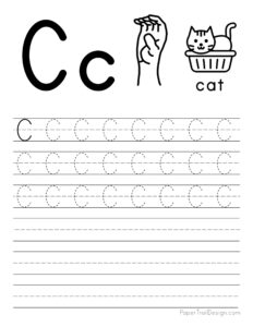 Capital letter C tracing worksheet