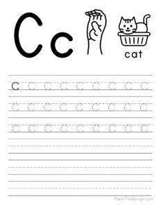 Lowercase letter C tracing worksheet
