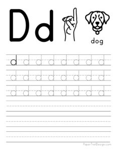 Lowercase letter D tracing worksheet
