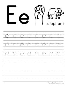 Lowercase letter E tracing worksheet