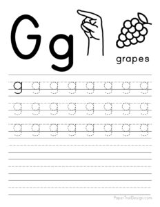 Lowercase letter G tracing worksheet