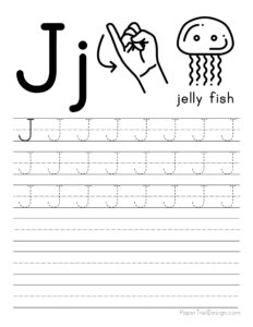 Capital letter J tracing worksheet