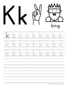 Lowercase letter K tracing worksheet