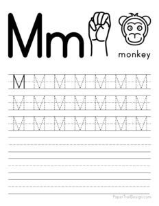 Capital letter M tracing worksheet