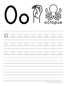 Lowercase letter O tracing worksheet