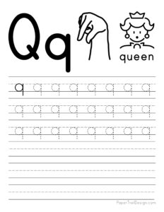 Lowercase letter Q tracing worksheet