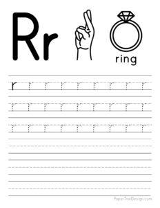 Lowercase letter R tracing worksheet