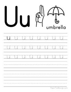 Lowercase letter U tracing worksheet